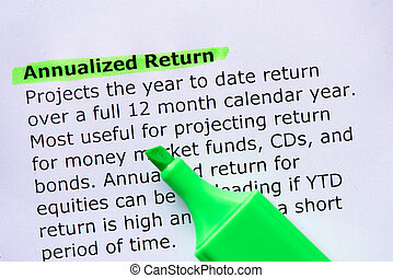 Annualized Return  words highlighted on the white background