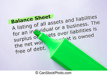 Balance Sheet words highlighted on the white background