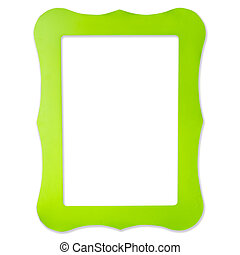 green frame for picture on isolated white background with clipping path.