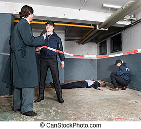 Police inspector arriving - Police inspector identifying...