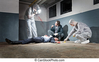 Crime Scene Investigation - Murder scene with two forensic...