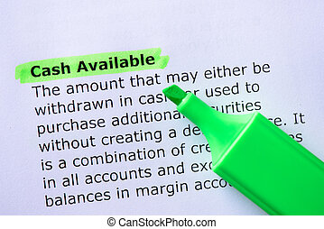 Cash Available  words highlighted on the white background