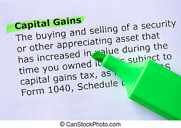 Capital Gains words highlighted on the white background
