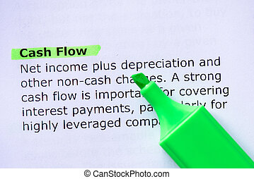 Cash Flow words highlighted on the white background
