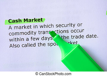 Cash Market words highlighted on the white background
