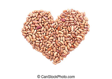Cranberry beans, or borlotti beans in a heart shape,...