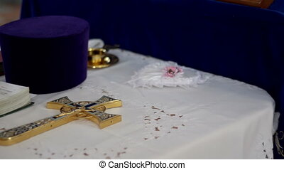 Orthodox cross and the Holy Scriptures - Orthodox cross on...