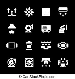 Set icons of ventilation and conditioning isolated on black