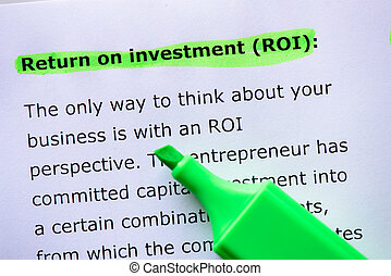 return of investment, roi words highlighted on the white...
