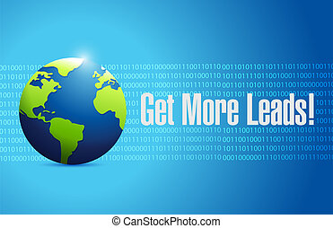 Get More Leads globe binary sign background