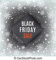 Black Friday sale background. Hole in black paper with snow...