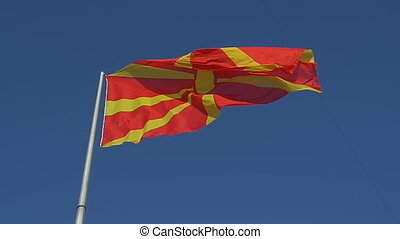 Flag of Macedonia - The current flag of Macedonia fluttering...
