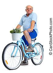 Personnes Agées, homme, à, Vélo, et, vegetables.,