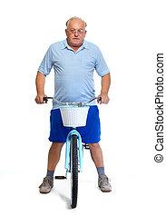 Personnes Agées, homme, à, bicycle.,