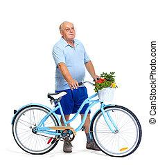 Personnes Agées, homme, à, Vélo, et,...