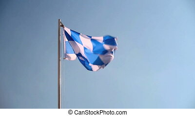 Request a Bavarian flag in front of a blue sky