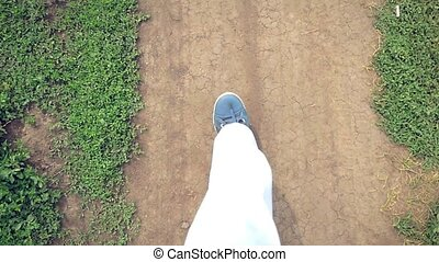 Walking legs in shoes on the road in nature outdoor