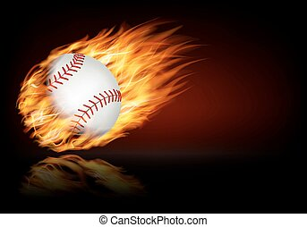 Baseball background with a flaming ball.