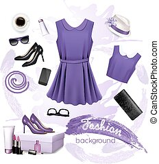 Collage of fashion female accessories. Vector