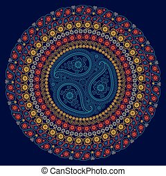Paisley circle composition .Vector Oriental ornament