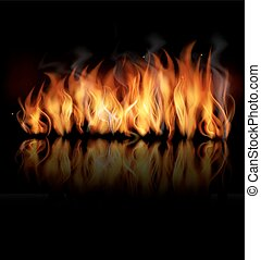 Fire vector on black background.