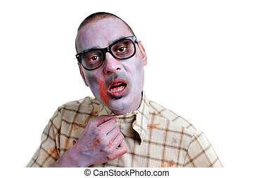zombie young man with black plastic-rimmed eyeglasses