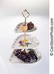 tray three tier serving tray on a background - tray three...