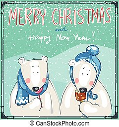 Christmas card - Hand drawn Christmas card with two funny...