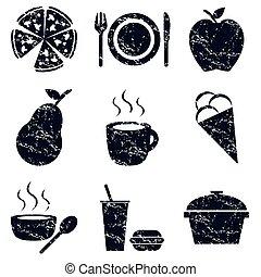Food icons set, grunge