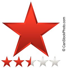 3d beveled star with rating Vector Illustration