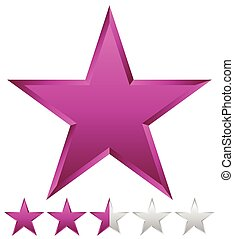 3d beveled star with rating. Vector Illustration.