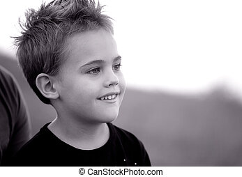 5 year old boy outdoor - Portrait of a 5 year old boy...