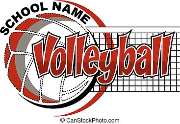 volleyball design - volleyball team design with net and ball