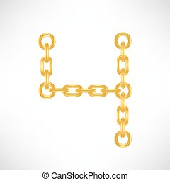 Gold Number 4 Isolated on White Background