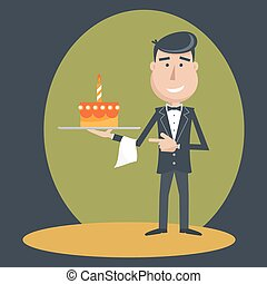 Waiter with birthday cake . - Waiter with cake on tray on...