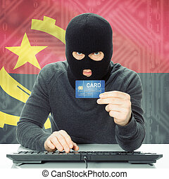 Concept of cybercrime with national flag on background -...
