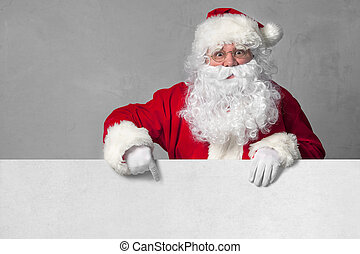 Santa Claus with banner - Santa Claus pointing in blank sign