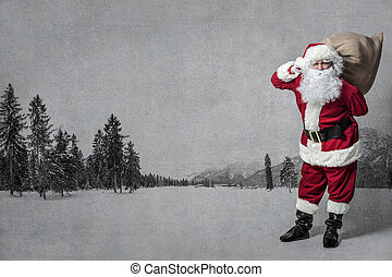 Santa Claus with a bag full of presents - Santa Claus with a...