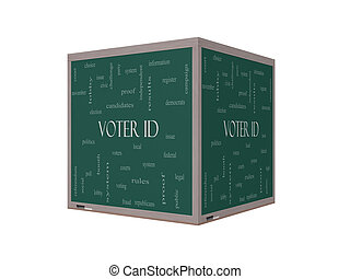Voter ID Word Cloud Concept on a 3D Blackboard with great...