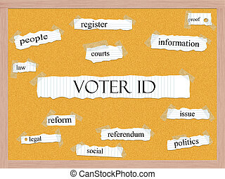 Voter ID Corkboard Word Concept with great terms such as and...