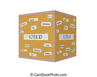 Voter ID 3D Corkboard Word Concept with great terms such as...