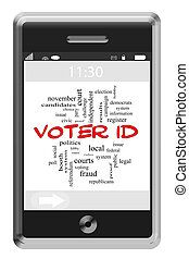 Voter ID Word Cloud Concept on a Touchscreen Phone with...