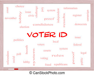 Voter ID Word Cloud Concept on a Whiteboard with great terms...