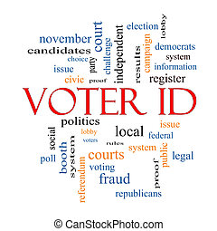 Voter ID Word Cloud Concept with great terms such as court,...