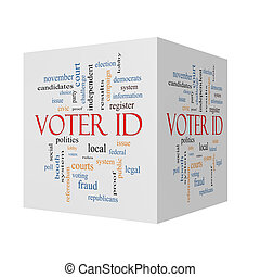 Voter ID 3D cube Word Cloud Concept with great terms such as...