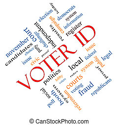Voter ID Word Cloud Concept angled with great terms such as...