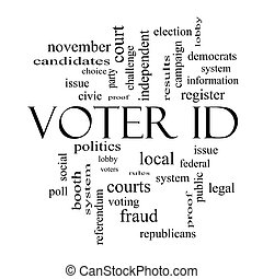 Voter ID Word Cloud Concept in black and white with great...