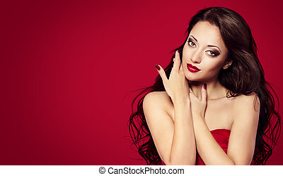Woman Face Nails on Red, Fashion Model Makeup with Long Black Hair, Portrait Beauty