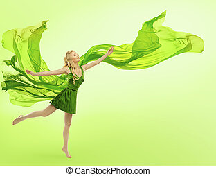 Woman in Green Dress with Blowing Cloth on Wind, Young Girl Posing Open Hands, Silk Fabric Fly
