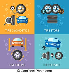 Tire service flat concepts vector set. Diagnostics and...